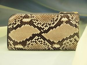 ホンモノのニシキヘビの皮で作ったレジさっとヘビ革財布